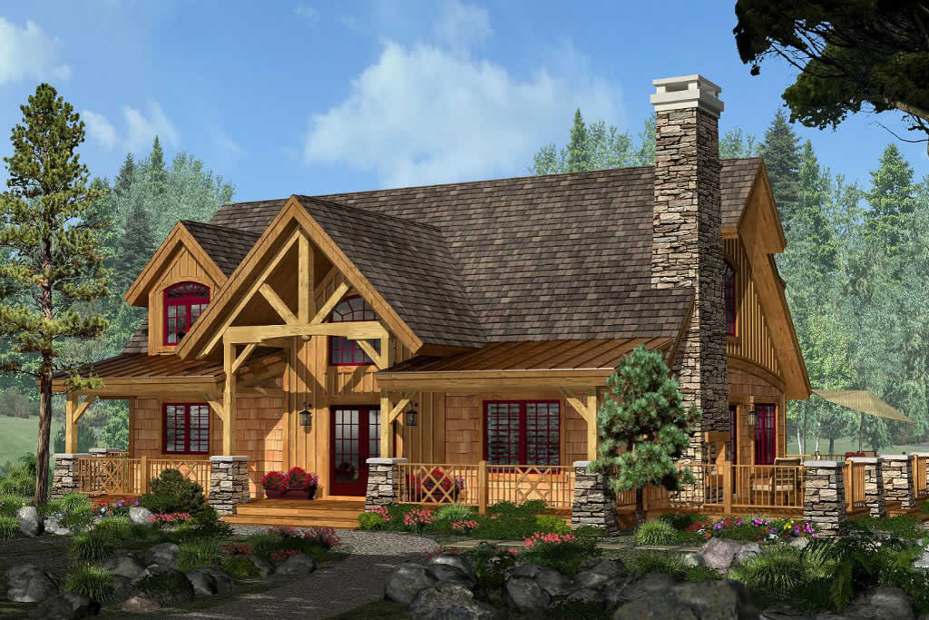 Home timber frame homes michigan for Timber frame bungalow